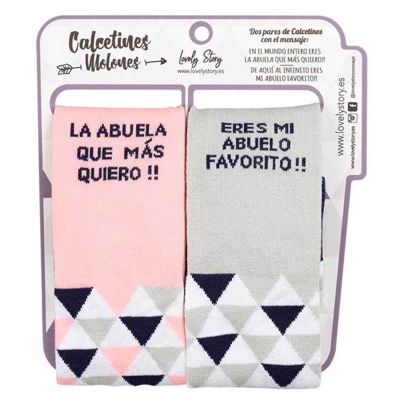 """Set de dos pares de calcetines para hombre y mujer """"ABUELO Y ABUELA"""""""