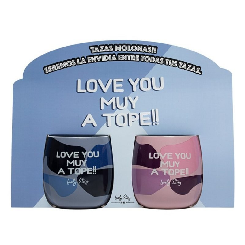 """Set de dos tazas ovaladas """"LOVE YOU MUY A TOPE!!""""   Lovely Story"""