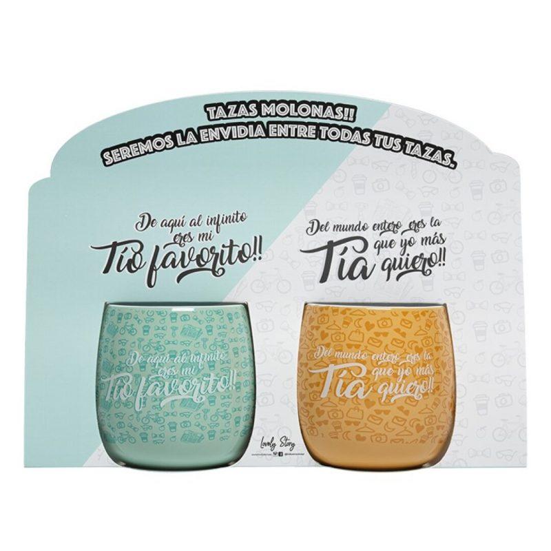 "Set de dos tazas ovaladas ""TÍO Y TÍA"" | Lovely Story"