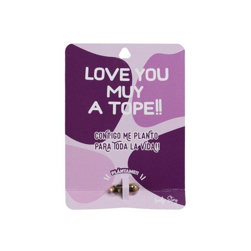 "Tarjeta de regalo con semilla de planta ""LOVE YOU MUY A TOPE!!"" - Morado| Lovely Story"