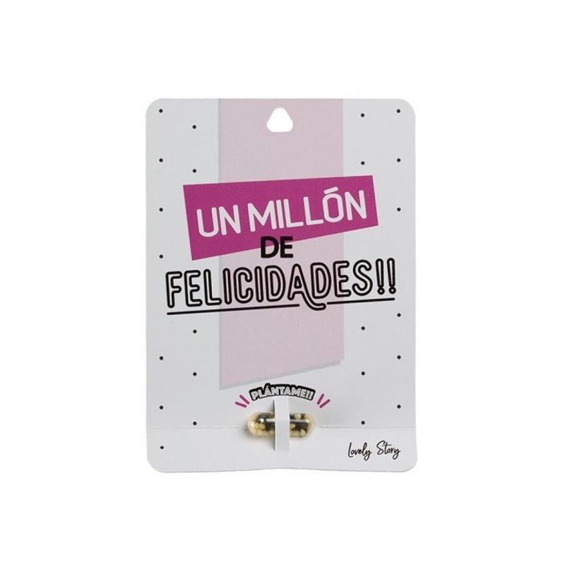 "Tarjeta de regalo con semilla de planta ""UN MILLÓN DE FELICIDADES"" - Rosa | Lovely Story"