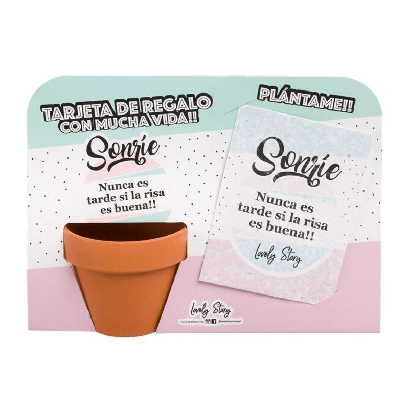 """Tarjeta de regalo para plantar con macetita """"SONRÍE, NUNCA ES TARDE SI LA RISA ES BUENA""""   Lovely Story"""