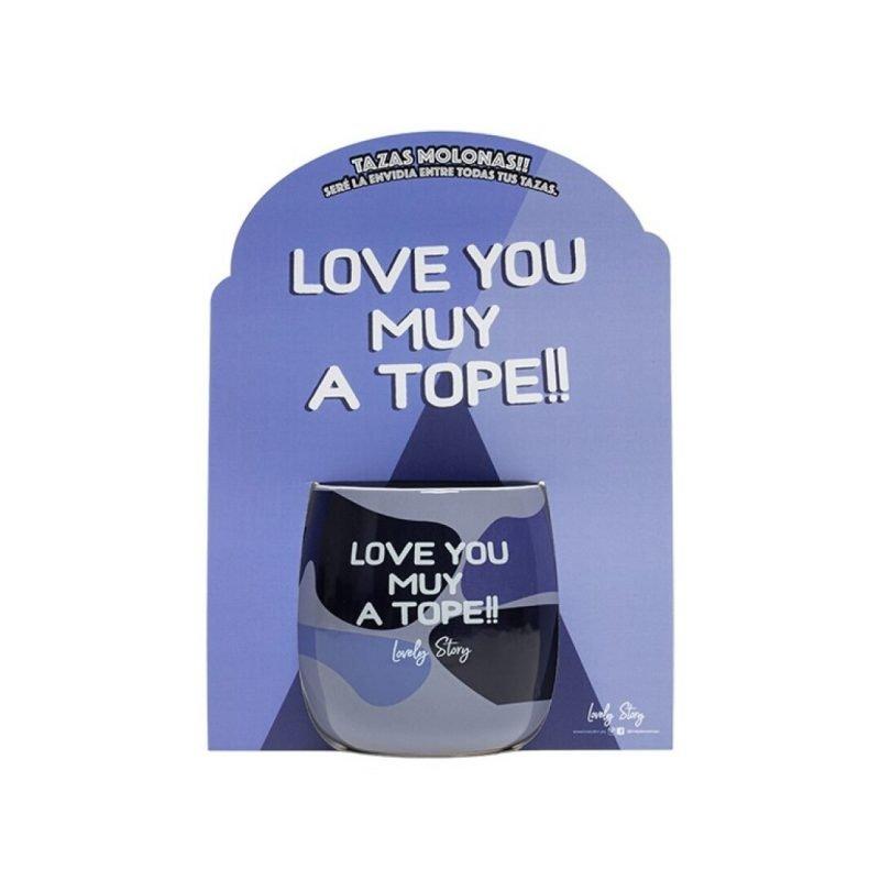 """Taza ovalada """"LOVE YOU MUY A TOPE""""- Azul"""