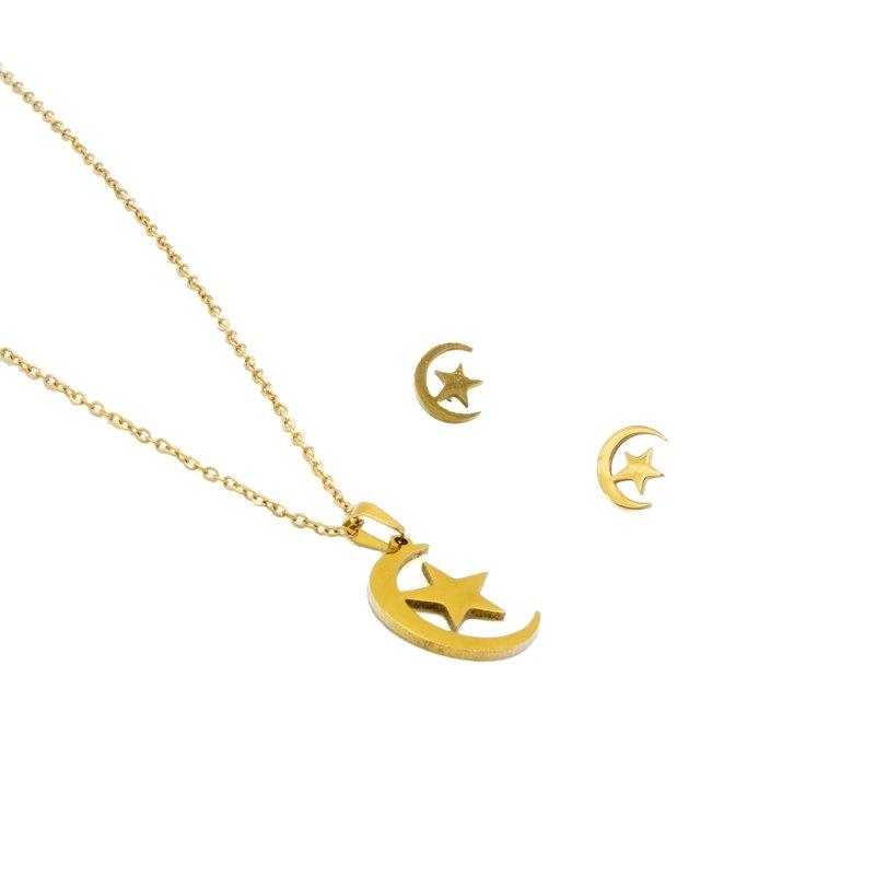 conjunto luna y estrella oro